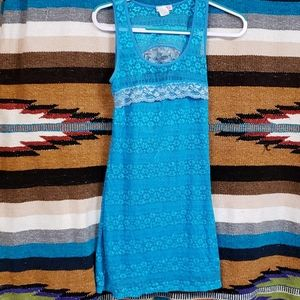 Body central open back lace turquise dress Large L